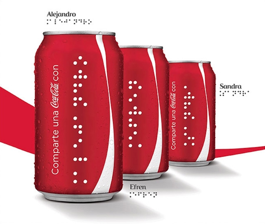 Coca-Cola has started printing cans and bottles in braille