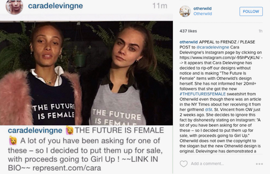 Cara Delevingne has been accused of ripping off designs