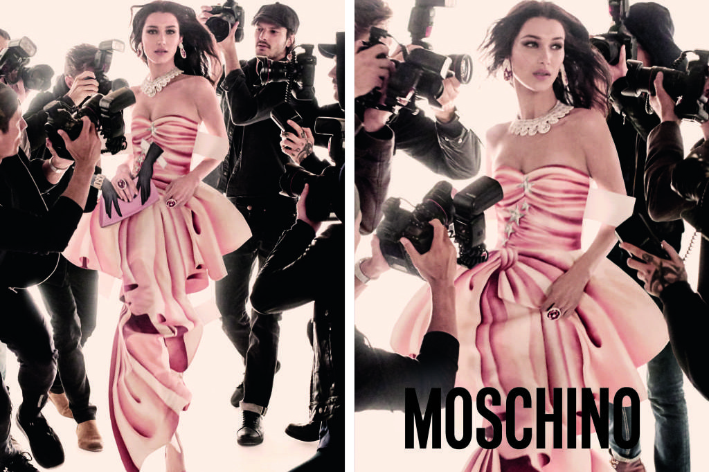 Gigi and Bella Hadid get swarmed by paparazzi for Moschino's new campaign