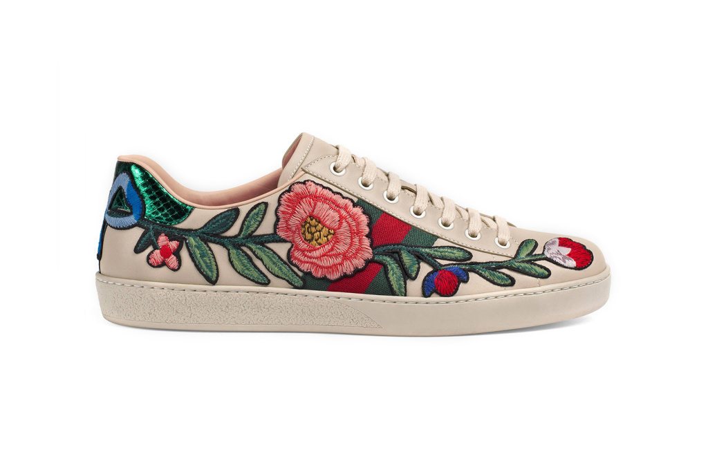Gucci has updated its site with an extended range of embroidered sneakers