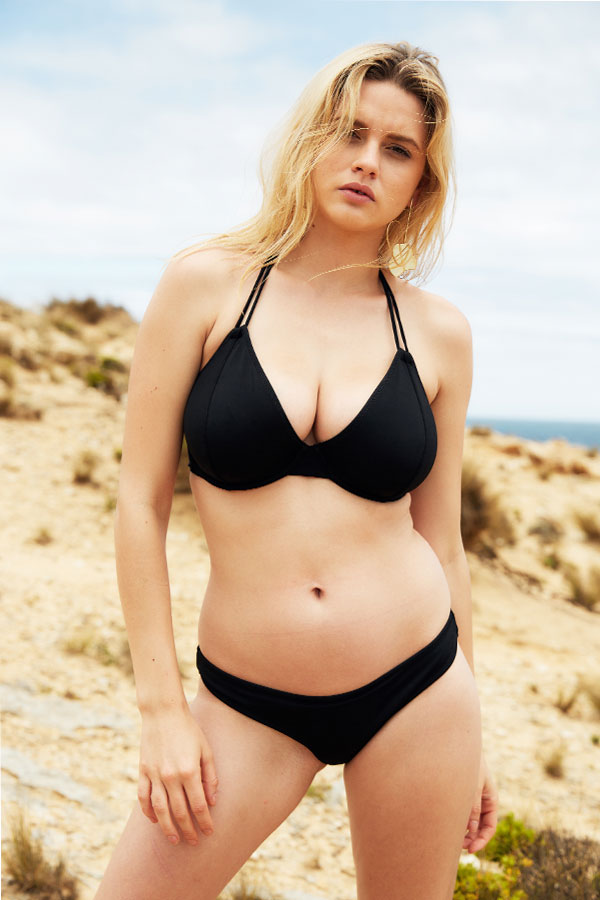 This simple black bikini has been designed for gals with E+ cup sizes