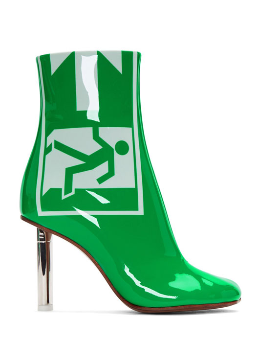 Vetements releases exit sign-inspired boots for a quick getaway