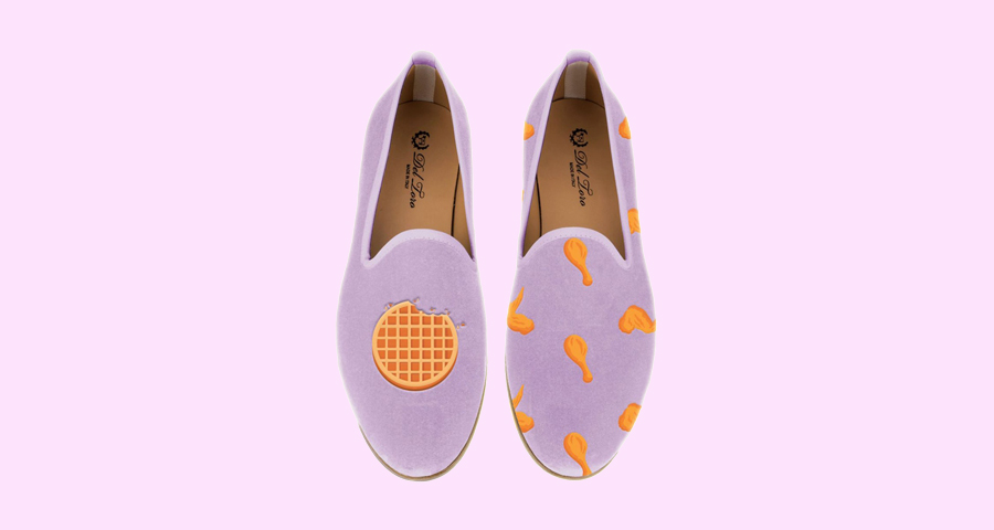 Start your day right with Moda Operandi's fried chicken and waffle slippers