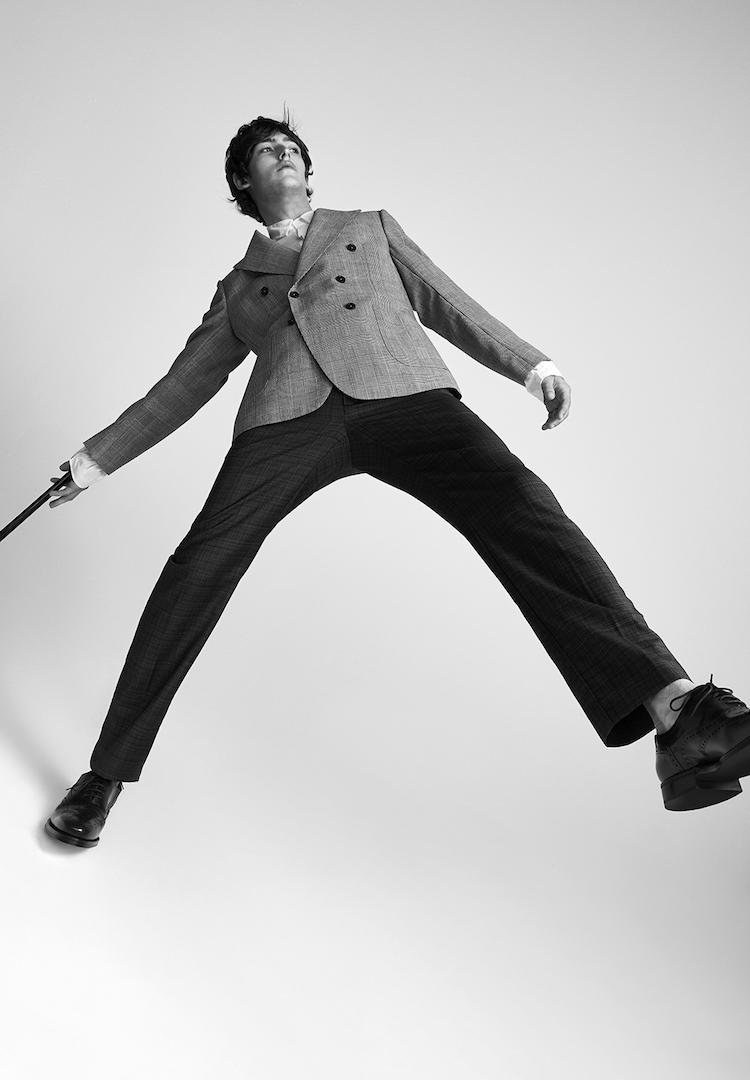 Jac+ Jack shirt and pants, Mister Mister jacket, Josephs shoes, Strand Hatters walking stick