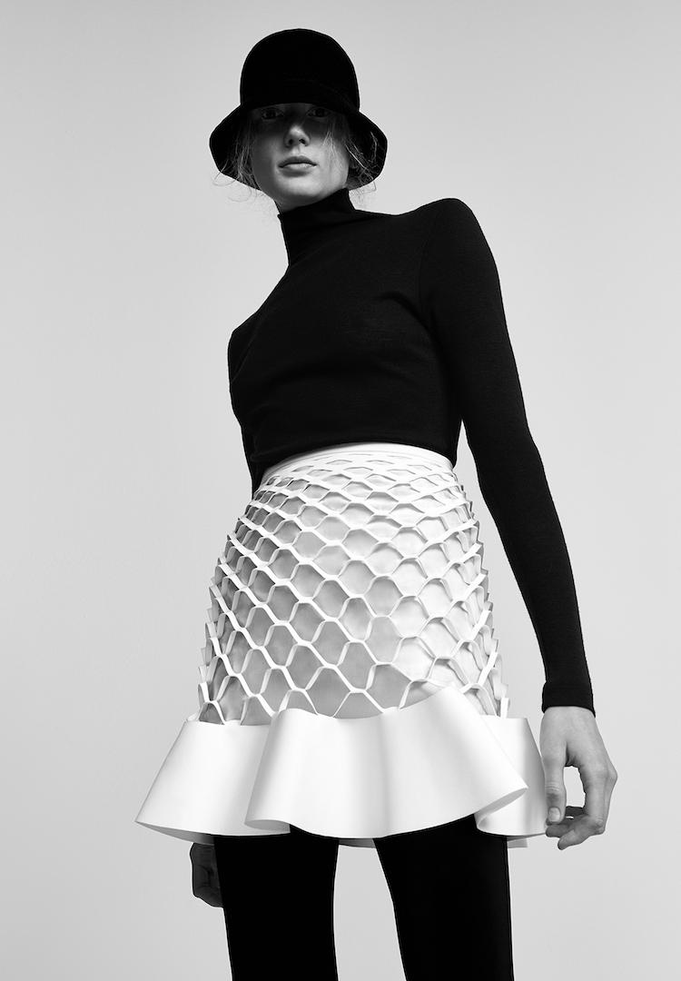 Skin and Threads turtleneck, Dion Lee skirt, Strand Hatters hat, Bassike leggings