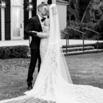Hailey Bieber wore an Off-white wedding dress to her ceremony over the weekend