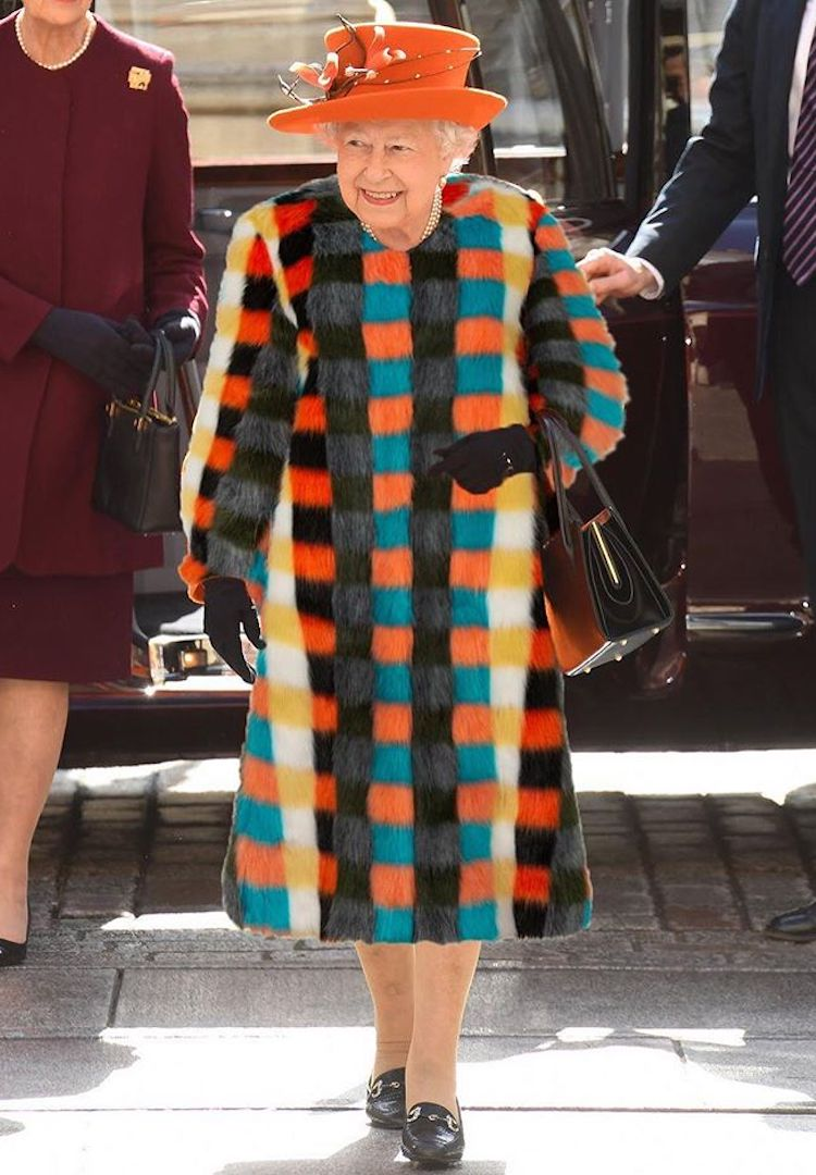 The queen announces she is going (partially) fur-free