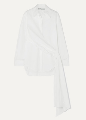 OFF-WHITE Distressed printed cotton-poplin wrap-effect shirt on NET-A-PORTER