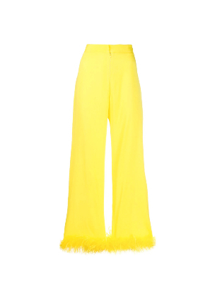 SILVIA ASTORE feather-embellished cropped trousers on FARFETCH